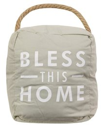 Door Stopper: Bless This Home, Beige/White