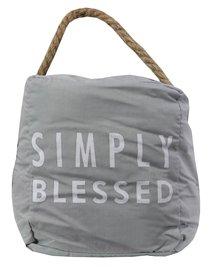 Door Stopper: Simply Blessed, Light Gray/White