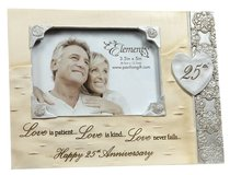 Elements Photo Frame:25Th Anniversary, Love is Patient, Love is Kind...Love Never Fails...Happy 25Th Anniversary