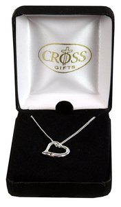Necklace: Silver Plated Heart With Cross 45Cm Silver Plated Chain