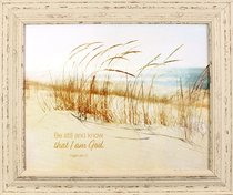 Outlooks Framed Art: Be Still and Know That I Am God, Sand/Beach (Psalm 46:10)