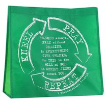 Reusable Shopping Bag: Kneel, Pray, Repeat (Green With Light Green Sides)