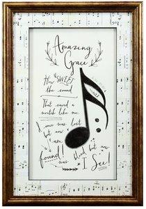 Framed Art Print: Amazing Grace Music Notes