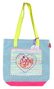 Let Your Light Shine Tote Bag: Love, Pale Blue/Pink/Yellow Handles