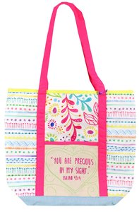 Let Your Light Shine Tote Bag: Precious Quilted, White/Pale Blue/Pink Handles