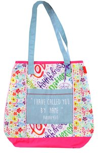 Let Your Light Shine Tote Bag: Called Quilted, White/Pink/Pale Blue Handles