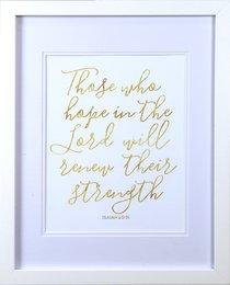 Medium Framed Gold Calligraphy Print: Those Who Hope, Isaiah 40:31