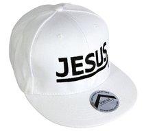Snapback Cap: Jesus White/White