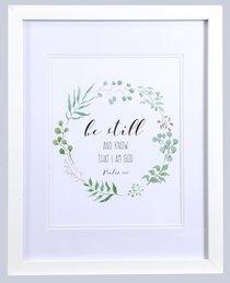 Medium Framed Print: Leaves Wreath, Be Still & Know That I Am God (Psalm 46:10)