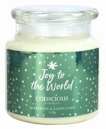 Quality Soy Christmas Candle: Joy to the World, Crushed Candy Cane