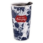 Ceramic Tumbler Mug Pretty Prints: You Are Amazing, Navy/White (Proverbs 31:25)