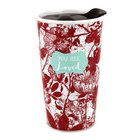 Ceramic Tumbler Mug Pretty Prints: You Are Loved, Red/White (Isaiah 43:4) Homeware