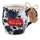Ceramic Mug Pretty Prints: You Are Amazing, Navy/White (Proverbs 31:25) Homeware