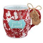 Ceramic Mug Pretty Prints: You Are Loved, Red/White, (Isaiah 43:4) Homeware