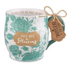 Ceramic Mug Pretty Prints: You Are a Blessing, Turquoise/White, (Philemon 1:7)