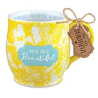 Ceramic Mug Pretty Prints: You Are Beautiful, Yellow/White, (Ephesians 2:10) Homeware