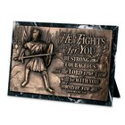Moments of Faith Sculpture Plaque: Fights For You Marble (Joshua 1:9) (Rectangle)