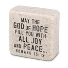Cast Stone Plaque: Peace Scripture Stone, Cream (Romans 15:13) Plaque