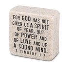 Cast Stone Plaque: Fearless Scripture Stone, Cream (2 Tim 1:7) Plaque