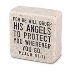 Cast Stone Plaque: His Angels Scripture Stone, Cream (Psalm 91:11) Plaque