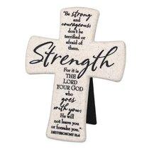 Cast Stone Desktop Cross: Scripture Strength (Deut 31:6)