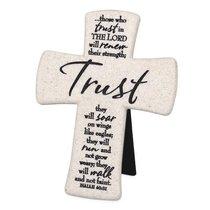 Cast Stone Desktop Cross: Scripture Trust (Isaiah 40:31)