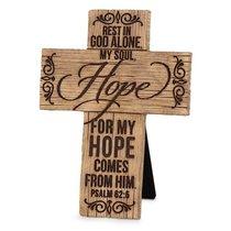 Cross Cast Stone Wood Grain: Hope (Psalm 62:5)