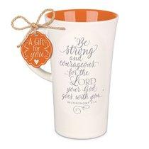 Latte Ceramic Tall Mug: Be Strong & Courageous, Red/Cream (Deut 31:6)