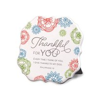 Ceramic Plaque: Thankful For You, Bright Geometric Floral Design, Philippians 1:3