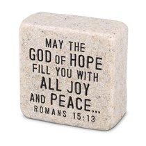 Cast Stone Plaque: Peace Scripture Stone, Cream (Romans 15:13)
