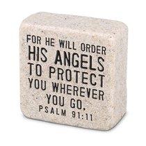 Cast Stone Plaque: His Angels Scripture Stone, Cream (Psalm 91:11)