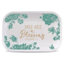 Ceramic Rectangle Tray Pretty Prints: You Are a Blessing, Turquoise/White (Philemon 1:7)