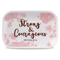 Ceramic Rectangle Tray Pretty Prints: Strong & Courageous, Pale Pink/White (Matthew 19:26)