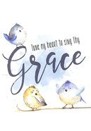 Notepad: Tune My Heart to Sing Thy Grace (Blue Tweety Birds) Stationery