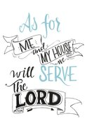 Faith Wall Plaque: As For Me and My House We Will Serve the Lord, Green/White Plaque