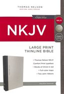 NKJV Thinline Bible Large Print Gray/Blue (Red Letter Edition) Hardback