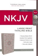 NKJV Thinline Bible Large Print Gray/Pink (Red Letter Edition) Hardback
