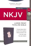 NKJV Thinline Bible Large Print Blue/Pink (Red Letter Edition) Premium Imitation Leather
