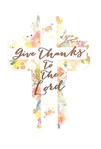 Bookmark Cross-Shaped: Give Thanks to the Lord, White Cross/Floral