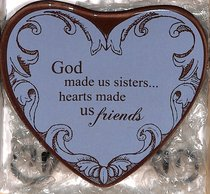 Plaque Heart to Heart: God Made Us Sister....Hearts Made Us Friends, Blue