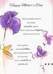 Buy Happy Mothers Day Purple Flowers Gold Letters Online Happy