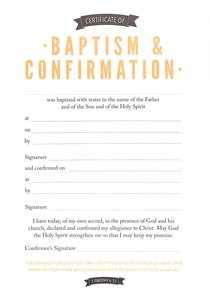 Certificate of Baptism & Confirmation (1 Timothy 6:12)