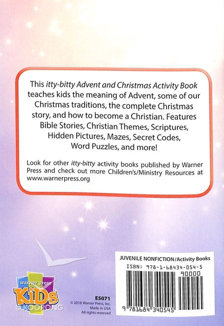 Buy Activity Book Christmas And Advent Itty Bitty Bible Series By