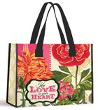 Tote Bag: Keep Love in Your Heart (Red/red Gerbera With Black Handles) Soft Goods