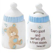 Baby Bear Bank: Boy - Every Good and Perfect Gift is From Above (James 1:17)