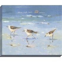 Canvas Wall Art: Where Faith Leads... Seagulls Playing in the Ocean