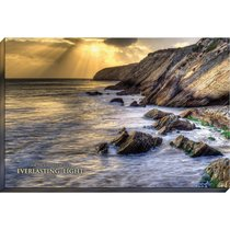 Canvas Wall Art: For the Lord Will Be Your Everlasting Light, Water Crashing on Rocks
