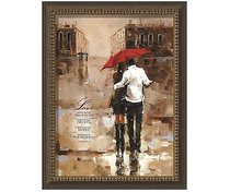 Framed Art Print: Love Always Protects....Couple Walking in the Rain