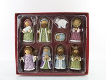 Resin Knitted Finish Nativity Set of 9 Pastel Colors