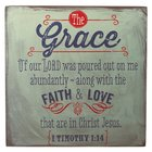 Wooden Block Plaque: Grace (Grey) Plaque